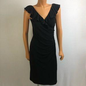 Le Chateau black dress Sz Small Ruffle neck